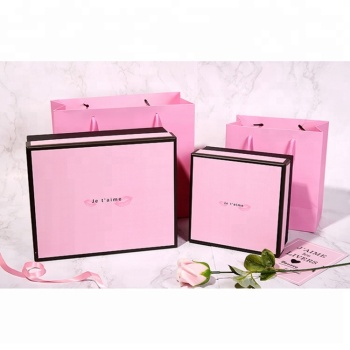 WZD30-5 Black edges cosmetic products make up tools packaging luxury gift box packing hot pink paper bag with handles