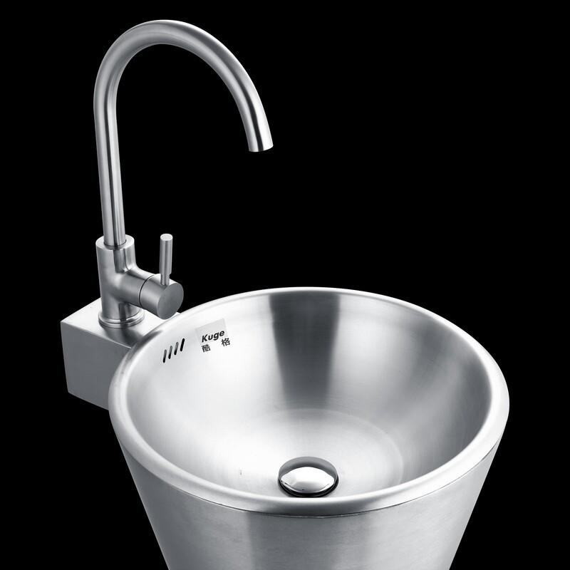 Family Bathroom Stainless Steel Pedestal Sink