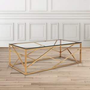 stainless steel tempered glass metal modern coffee table design