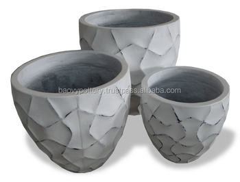 Round Lightweight Cement Pots Small Concrete Fiber Planter Viet Nam Pottery