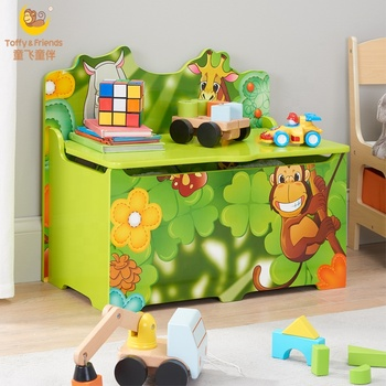 Marvelous Toffy Friends Kids Jungle Wooden Storage Toy Box With Lid Green Buy Wooden Toy Box Kids Toy Box With Lid Kids Storage Toy Box Product On Ncnpc Chair Design For Home Ncnpcorg