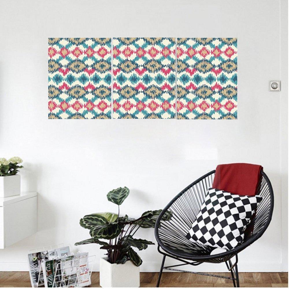 Liguo88 Custom canvas Ikat Decor Original Asian Tied Knotted Triangle Figure Handmade Effect Traditional Boho Home Decor Bedroom Living Room Decor Cream Red Teal