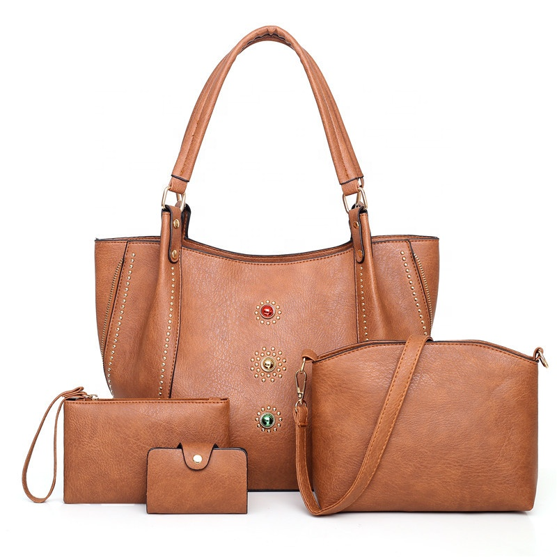 2019 Handmade Quality Colorful Jewel Tote Zipper Women Pu Handbag Sets Mini Card Bag Gift For 4 Pieces