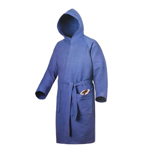 quick dry melange microfiber suede hooded adult bathrobe