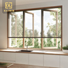 Outward opening french style triple pane slim aluminum profile casement window for residential house kitchen