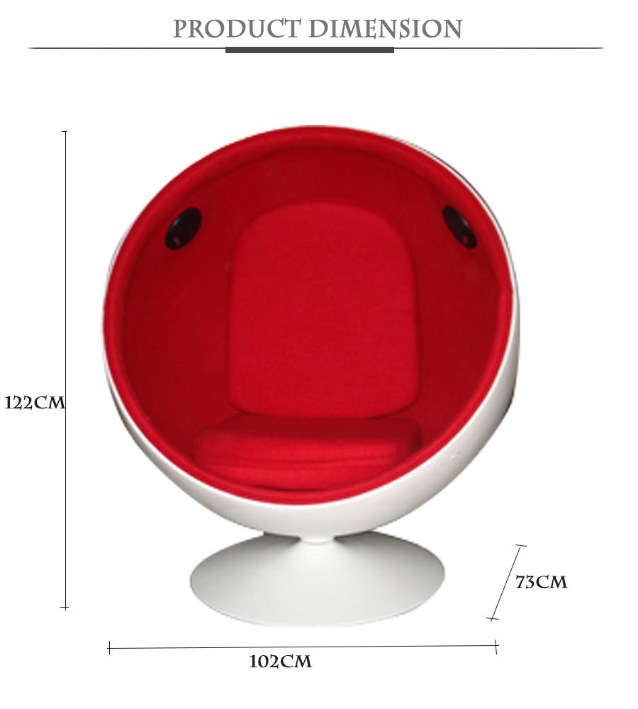 Hot Sales Designer Bal Vormige Glasvezel Leisure Draaistoel Met ...