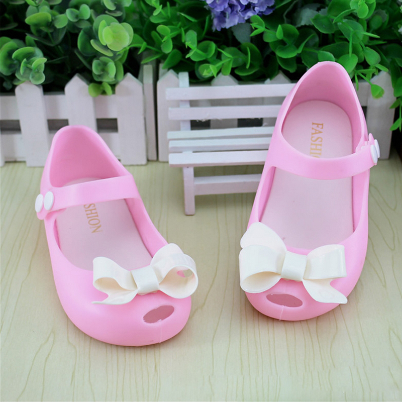 14 17cm Summer Girls Bow Mini Melissa Shoes Party Princess Kids Girls Sandal Soft Children Beach