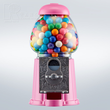 Kwang Hsieh 9 Inch Pink Metal Coin Operated Gumball Machine