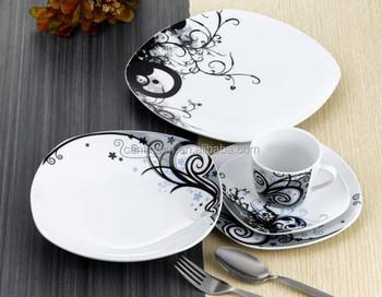 20 Unids Cuadrados Vajilla De Porcelana Conjunto Con Diseo Elegante