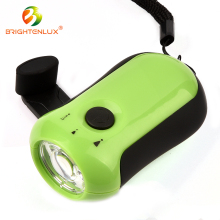 Factory Bulk Sale Housing Used green color Plastic COB LED Mini hand crank flashlight
