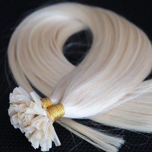 Long length blonde color hot fusion keratin tip pre bond hair extensions, virgin russian hair white color