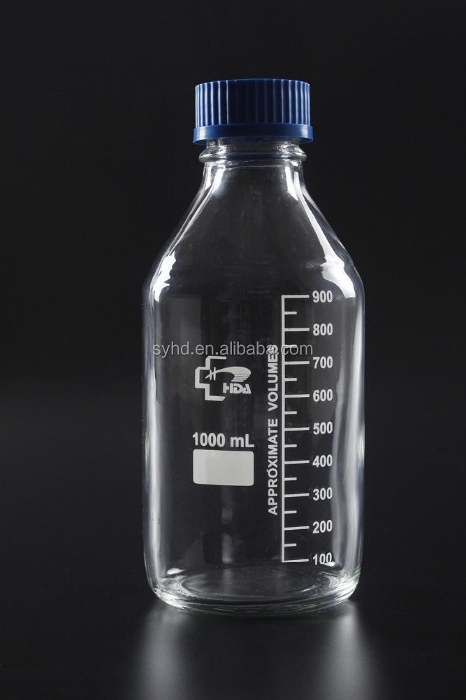 Lab clear glass Reagent Media Bottle with plastic blue screw cap
