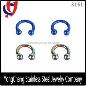 Hand/machine polished curved ear stretcher with different color