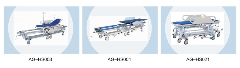 AG-HS002 emergency cheap manual hospital icu patient transfer carts used ambulance stretchers