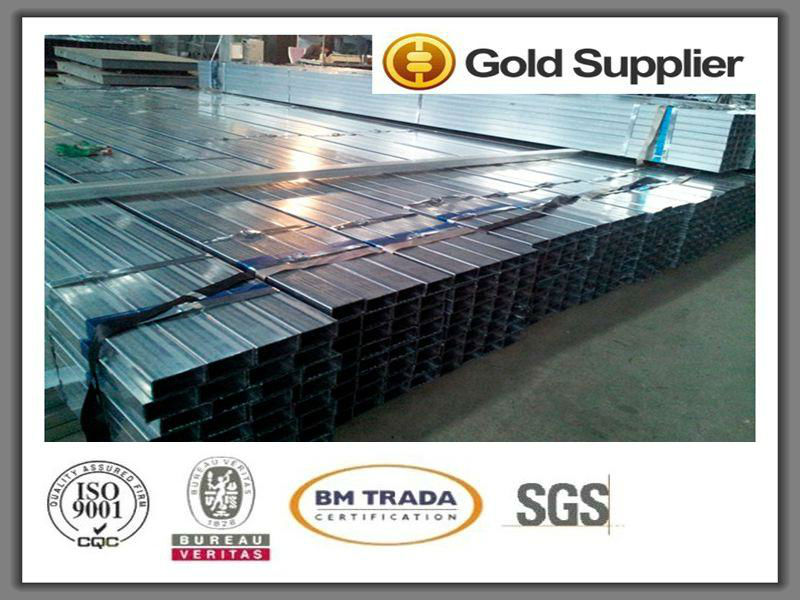 "Rectangular galvanized steel pipe 4"" tube/MS BOX SECTION Q235B Mild Steel Pipe"