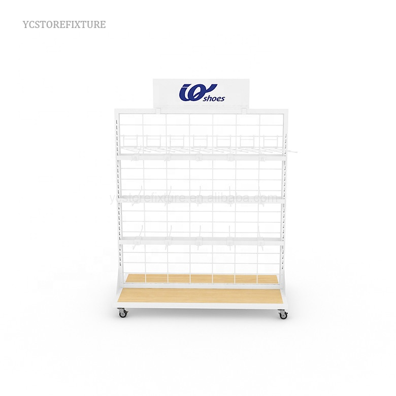 Manufacturer Mesh Wire Moveable Supermarket Shelving / Display