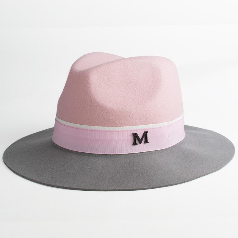 24bd7e68b4d New Pink Women Wool M Jazz Fedora Hat Elegant Lady Winter Large Brim  Patchwork Panama Fedoras