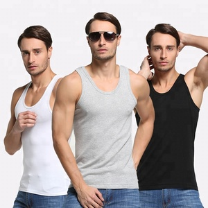 Rib fabric plain white tank top men for summer solid men gym tank tops