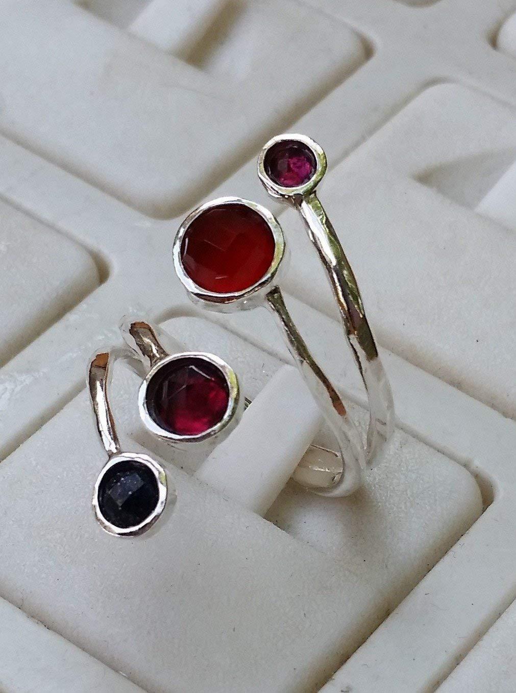 Garnet Silver Ring , Agate Ring, Sterling Silver 925 Ring, Gemstones Ring, Handmade Multistones Ring, Stackable Ring, Open Silver Ring, Statement Silver Ring, Onyx Ring