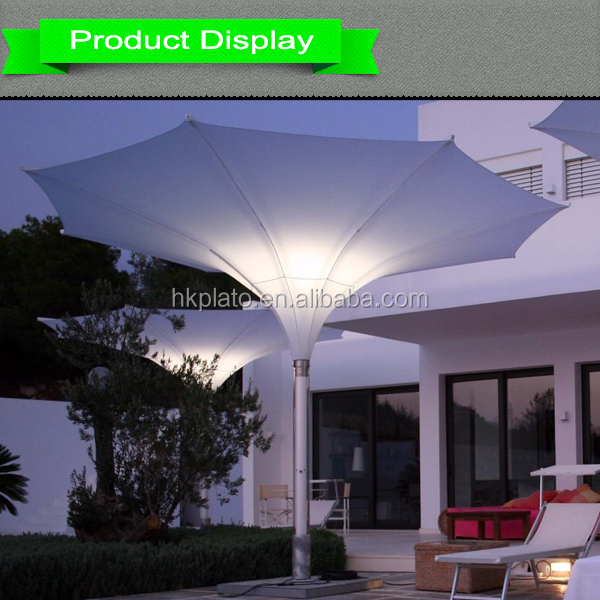 Popular Italy 600D oxford cloth outdoor LED tulip umbrella for coffee shop