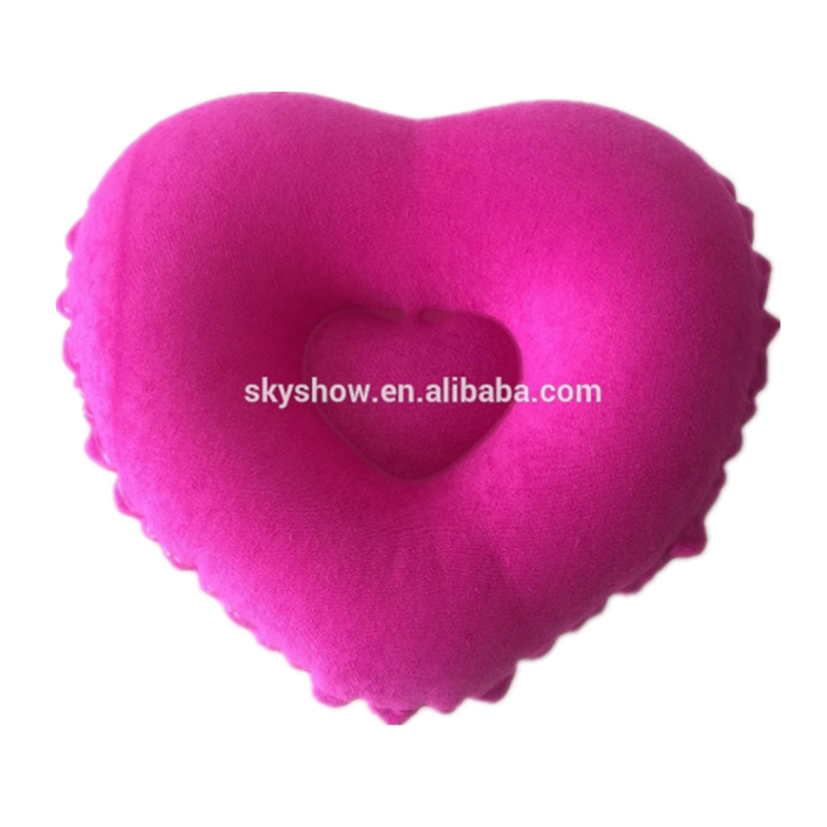 Custom Airplane Folding New Design Soft Neck Heart Shape Inflatable Bath Travel Pillow