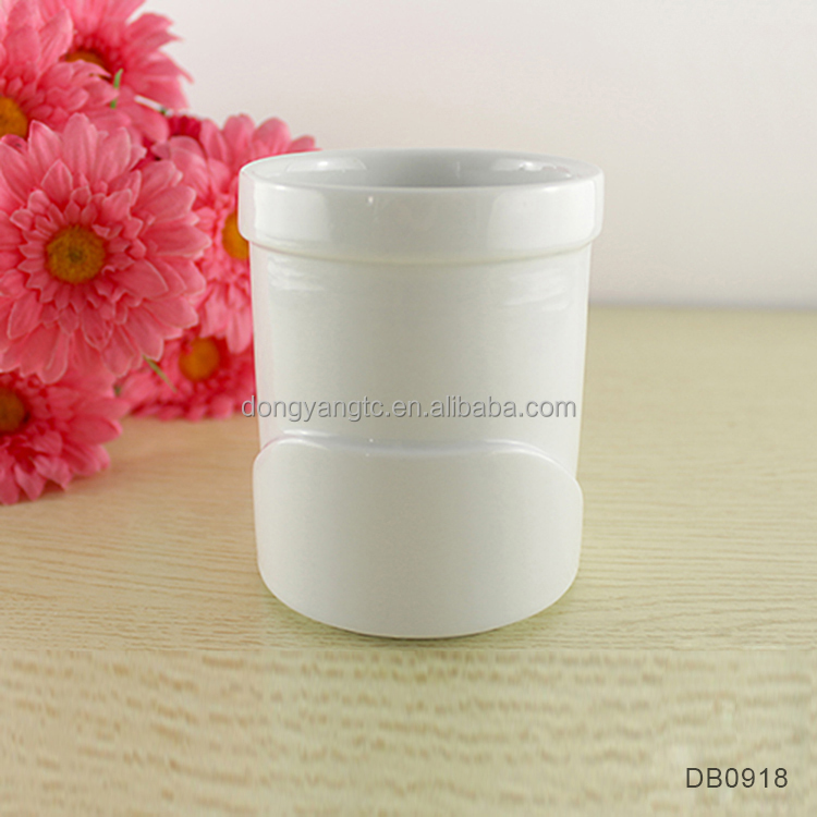 10oz 280ml white porcelain glossy no handle cup cheap water drinking office tea time ceramic cylinder embossed bottom logo cup