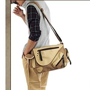 Vintage Canvas Messenger Bag Case Casual Bags Shoulder Laptop Bag School bags Attache case for Men Young People Student - Size L - Khaki