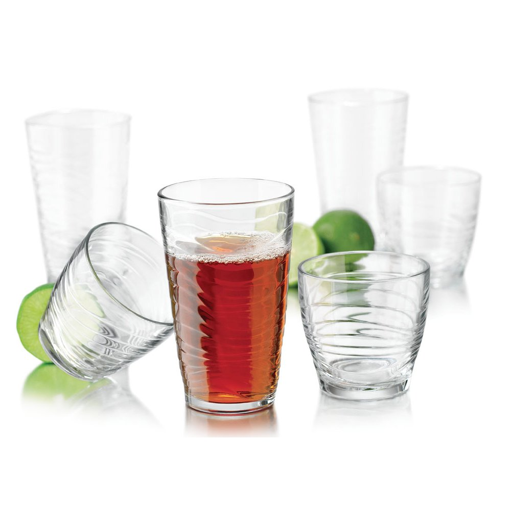 Libbey 55566 Orbita Drinkware Combination Set, 8-18.1 Ounce Drinking 8-11.5 Ounce Rocks Glasses, Lead-Free, 16-Piece, 18.1 oz, Clear