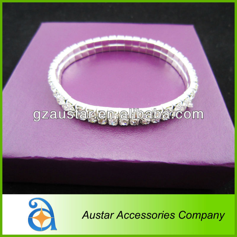 Single Row rhinestone bangle bracelet,Silver elastic stretch crystal bracelet are in stock