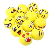2017 Hot sale 12pcs/set Face Smile PU Sponge Foam Ball Emoji Squeeze Stress Ball