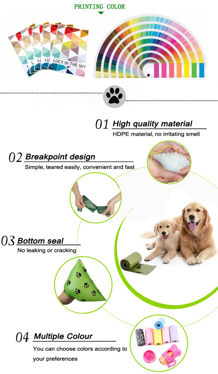 Wholesale Biodegradable Plastic HDPE Dog Poo Bags Çin