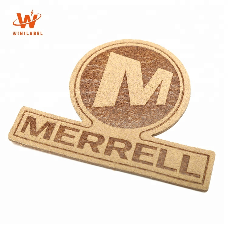 Sew on Custom Brand Name Washable Thin Suede Leather Embossed Tags Patches for Clothing and Seats