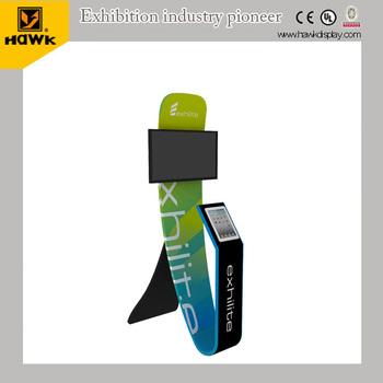 tension fabric ipad u0026 tv floor stand display 3d200c - Ipad Floor Stand