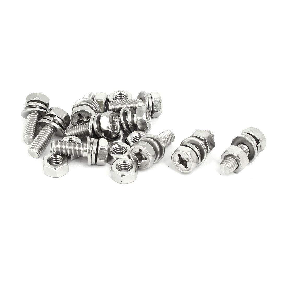 uxcell M6x18mm 304 Stainless Steel Phillips Drive Hex Head Screw Nut w Washer 10 Sets