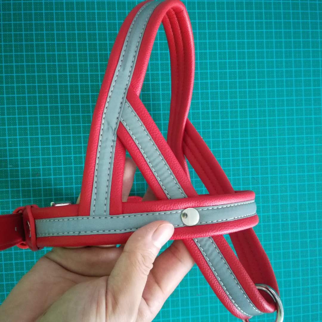 High Quality Reflective PU Material Custom Pet Dog Harness Strap Chest