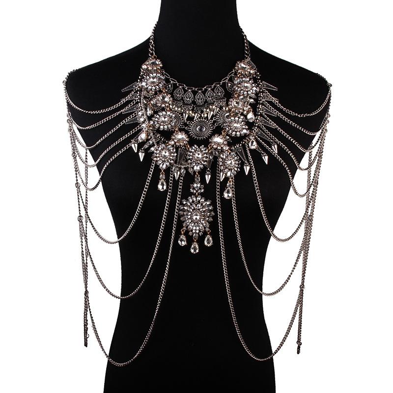 2339 Dvacaman 2018 fashion Crystal Luxury creative personality Body Chain Women Statement Necklace lady фото