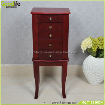 Floor Standing Jewelry Box With 4 Drawers And Solid Wood Legs