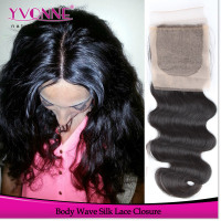 Alibaba stock human hair cheap silk base closure wholesale body wave
