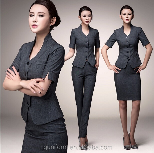 Custom simple new fashion outfit ladies office uniform for Office design uniform
