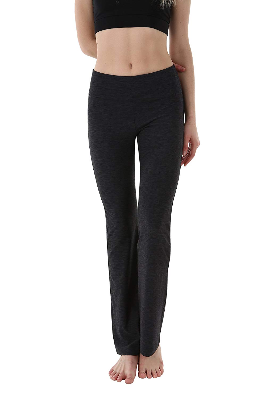 555cc4309d Get Quotations · OUTOF Women's Power Yoga Pants Inner Pocket - Mid Bootleg  Long - Bootcut Leggings