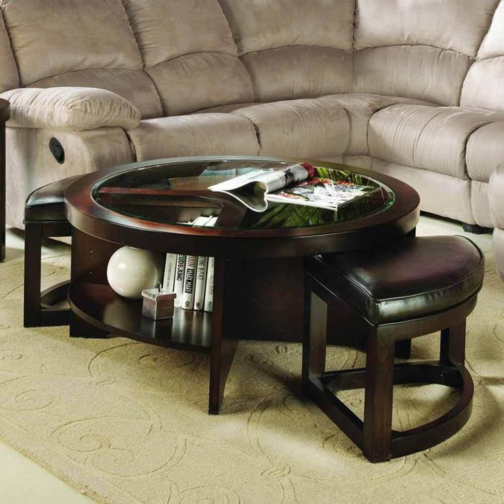 Get Quotations · 1PerfectChoice Modern Occasional 3 PC Round Coffee Table  Glass Top W/ PU Ottoman Brown Cherry