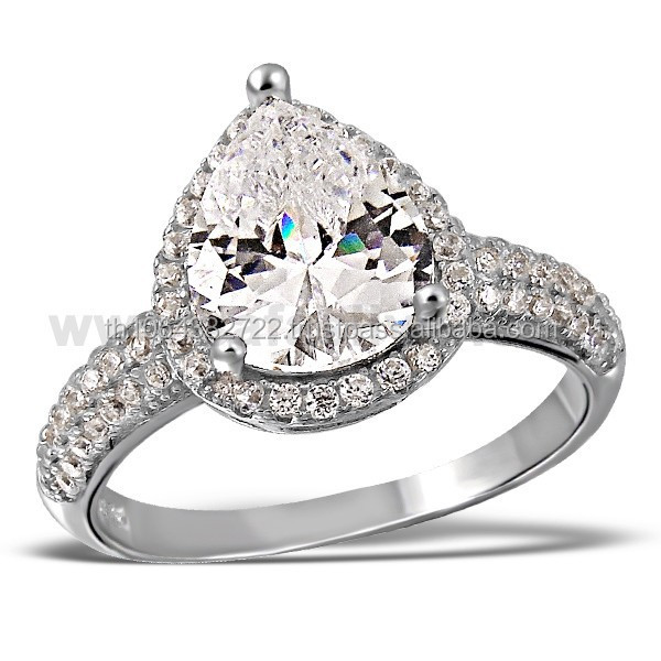 Drop Shape Cut Bign CZ Fack Diamond Cubic Zirconia Prong Set 925 Sterling Silver Unisex Jewelry Wholesale