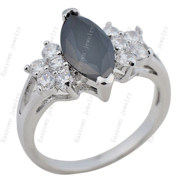 10ps/lot Size 6/7/8/9 Fashion Jewelry Women Lady Finger Rings 10KT White Gold Filled Black Zircon Ring HOT Selling RW0173