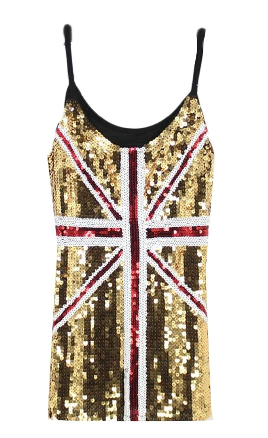 1ee7ac1b320 Get Quotations · Generic Womens Sequin United Kingdom Flag Tank Tops  Spaghetti Strap Camis Tops
