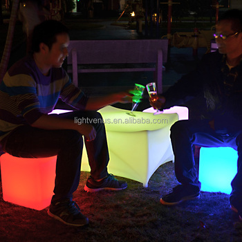 Light Up Glow Led Cube Seat Used Outdoor Event Furniture Colorful RGB Led  Cube Light Bar