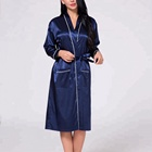 Sexey Long Style Navy Color Kimono Silk Like Satin Women Robe With Binding