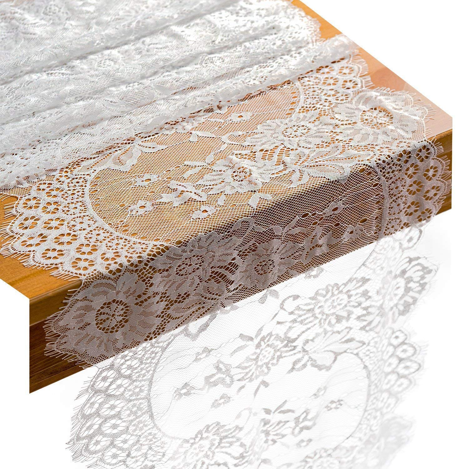 White Lace Table Runner/Overlay with Rose Vintage Embroidered, Rustic Boho Wedding Reception Table Decor, Fall Thanksgiving Christmas Baby & Bridal Shower Party Decoration (1, white-14120inch)
