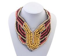 N128 Livraison gratuite Main perles Africains ensemble de bijoux Jaune collier perles Africaines ensemble de bijoux