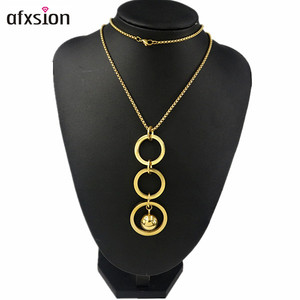 AFXsion fashion jewelry tassel sweater chain necklace 18K gold stainless steel jewelry long necklace women