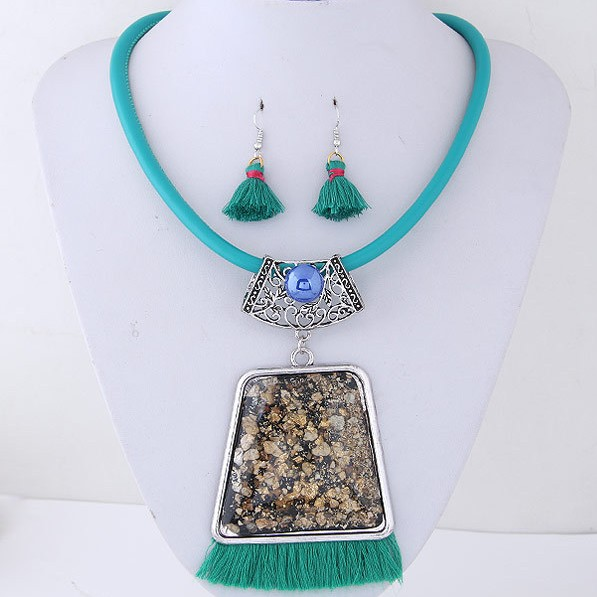 Bohemian Jewelry Set Women Girl africian gemstone Long Tassel Pendant Necklace Earrings Sets
